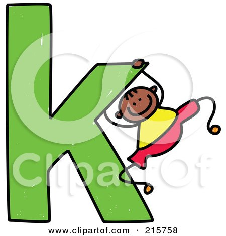 Royalty-Free (RF) Clipart Illustration of a Childs Sketch Of A Boy Swinging On A Lowercase Letter K by Prawny