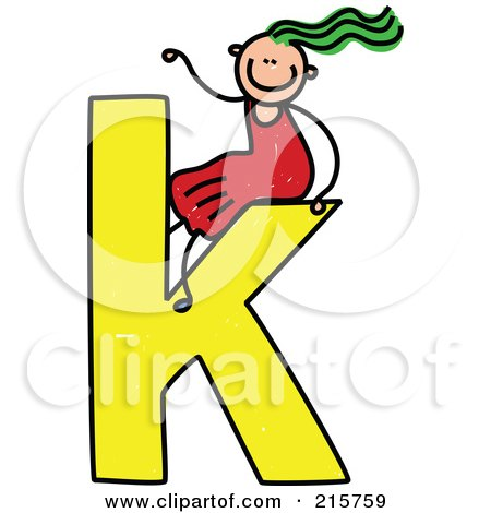 Royalty-Free (RF) Clipart Illustration of a Childs Sketch Of A Girl On Top Of A Lowercase Letter K by Prawny