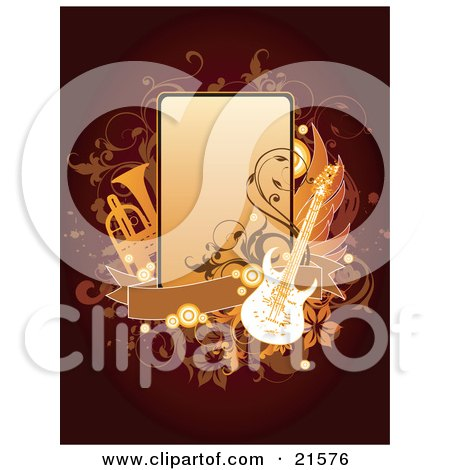 Clipart Illustration of an Electric Guitar And Trumpet With A Blank Banner And Rectangular Space, With Floral And Vine Accents Over A Dark Red Background by OnFocusMedia