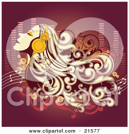 Clipart Illustration of a Blond Woman Closing Her Eyes And Listening To Tunes Through Headphones by OnFocusMedia