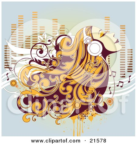 Clipart Illustration of a Relaxed Blond Haired Woman Listening To Music Through Headphones And Closing Her Eyes by OnFocusMedia