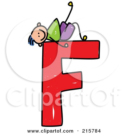 Royalty-Free (RF) Clipart Illustration of a Childs Sketch Of A Boy On Top Of A Capital Letter F by Prawny