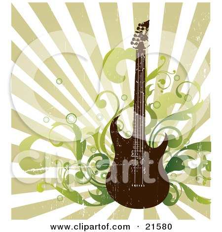 Clipart Illustration of an Electric Guitar With Music Notes And Radio Speakers Over A Grunge Background by OnFocusMedia