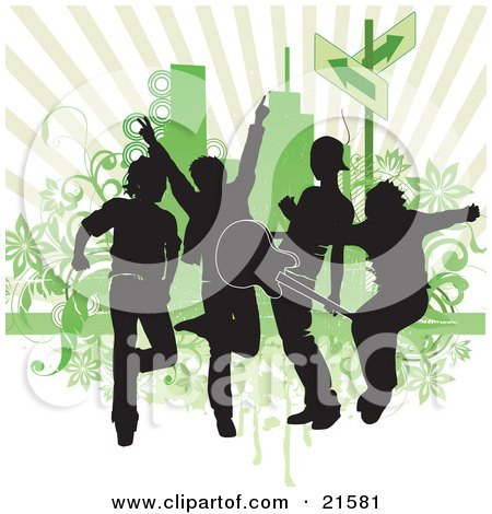 Clipart Illustration of a Four Silhouetted Guys In A Band, Rocking Out And Playing A Guitar Against A Green Background by OnFocusMedia