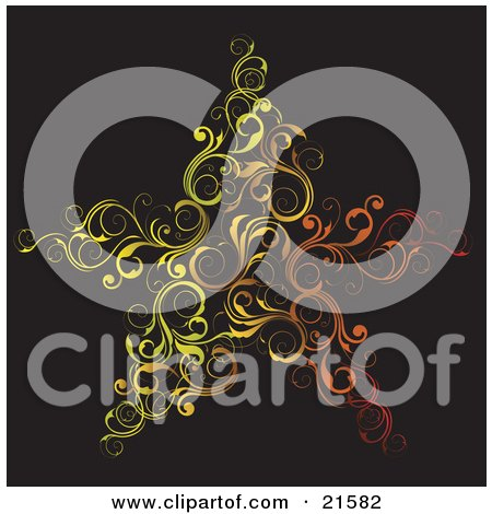 Elegant Red, Orange And Yellow Scrolled Vines Forming The Shape Of A Star Over A Black Background Posters, Art Prints