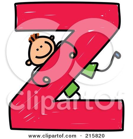 Royalty-Free (RF) Clipart Illustration of a Childs Sketch Of A Boy On A Capital Letter Z by Prawny