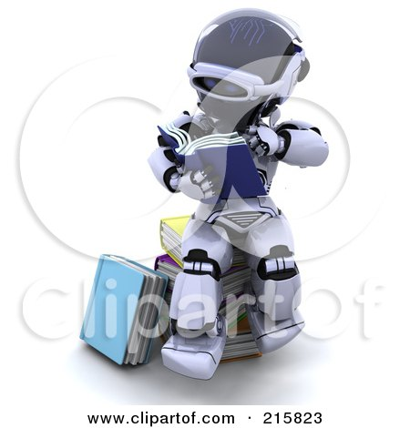 Royalty-Free (RF) Clipart Illustration of a 3d Robot Sitting And Reading by KJ Pargeter
