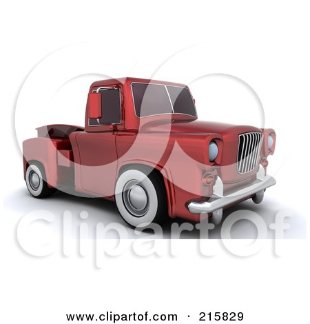 Royalty-Free (RF) Clipart Illustration of a 3d Red Vintage Pickup Truck by KJ Pargeter