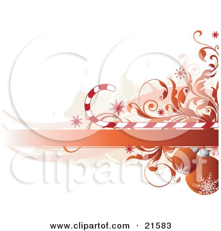 Clipart Illustration of Orange-Red Christmas Baubles With Snowflake Designs, Hanging Under A Blank Banner With Vines And Candycanes by OnFocusMedia