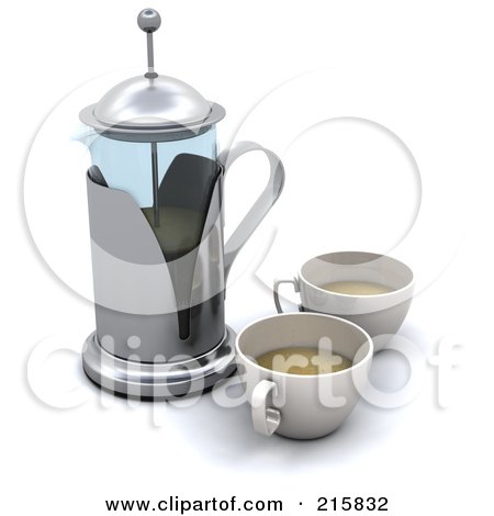 Royalty-Free (RF) Clipart Illustration of a 3d Coffee Press With Two Cups by KJ Pargeter