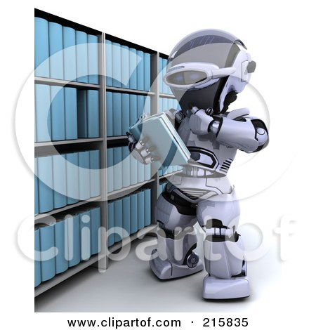 Royalty-Free (RF) Clipart Illustration of a 3d Robot Reading A Book From A Shelf by KJ Pargeter