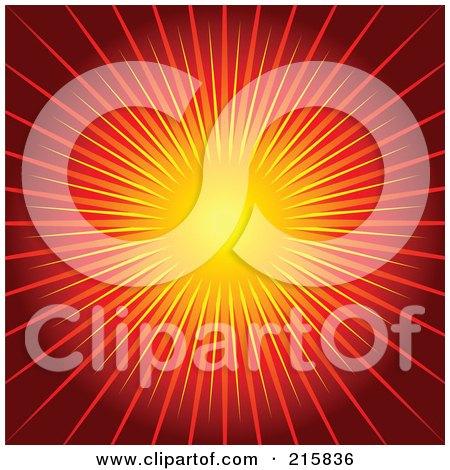 Royalty-Free (RF) Clipart Illustration of a Background Of Bursting Orange Light Over Red by KJ Pargeter