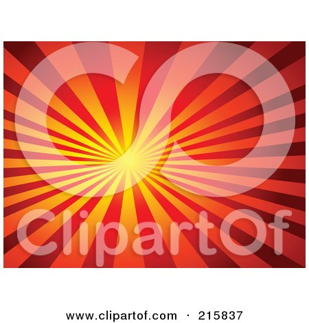 Royalty-Free (RF) Clipart Illustration of a Background Of Thick Yellow, Orange And Red Rays Shining From A Bright Center by KJ Pargeter