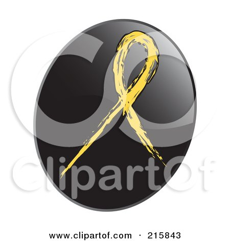 Royalty-Free (RF) Clipart Illustration of a Yellow Awareness Ribbon On A Shiny Black App Icon Button by inkgraphics