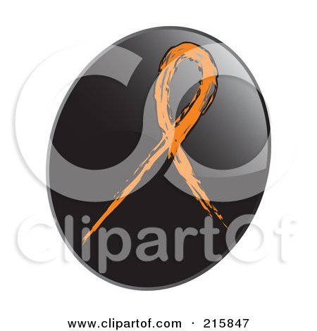 Royalty-Free (RF) Clipart Illustration of an Orange Awareness Ribbon On A Shiny Black App Icon Button by inkgraphics