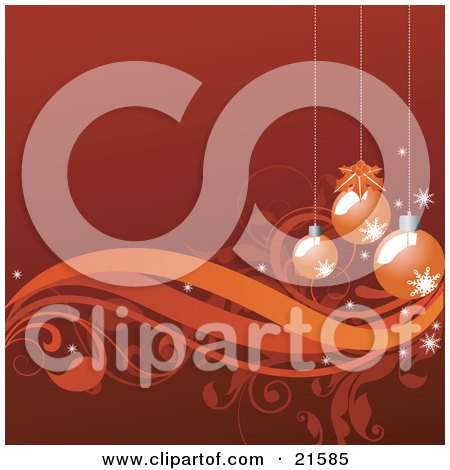 Clipart Illustration of a Red-Orange Background With Three Christmas Ornaments Hanging Over Vines And Scrolls by OnFocusMedia