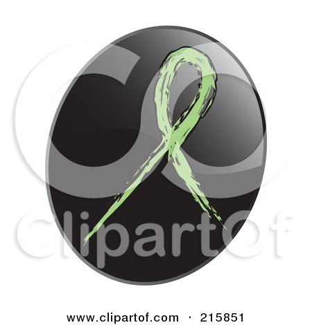 Royalty-Free (RF) Clipart Illustration of a Light Green Awareness Ribbon On A Shiny Black App Icon Button by inkgraphics