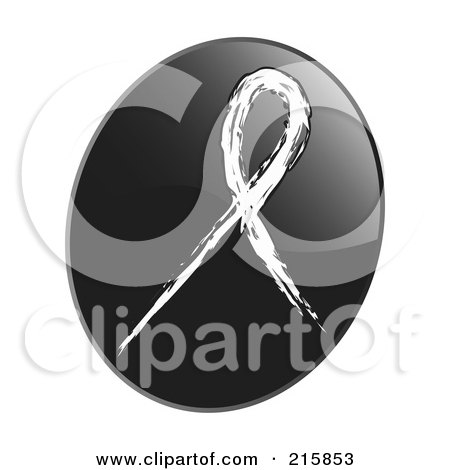 Royalty-Free (RF) Clipart Illustration of a White Awareness Ribbon On A Shiny Black App Icon Button by inkgraphics