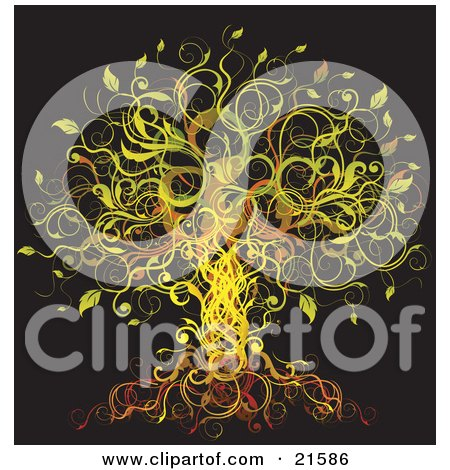 Clipart Illustration of an Elegant Abstract Tree Formed Of Yellow, Green, Orange And Red Vines And Leaves Over A Black Background by OnFocusMedia