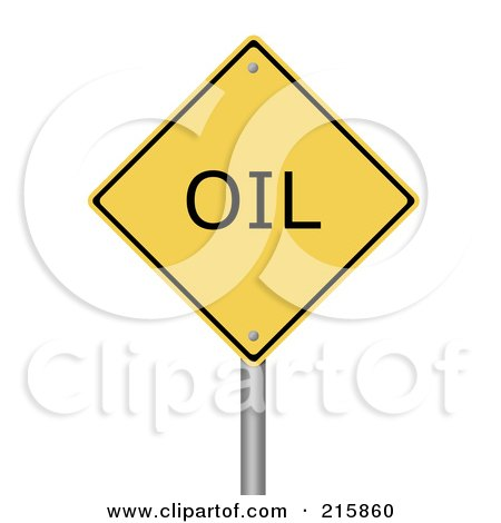 Royalty-Free (RF) Clipart Illustration of a Yellow And Black Warning Oil Sign by oboy