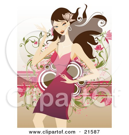 Clipart Illustration of a Happy Brunette Caucasian Woman Wearing A Flower In Her Hair, Wearing A Pink Dress And Dancing by OnFocusMedia