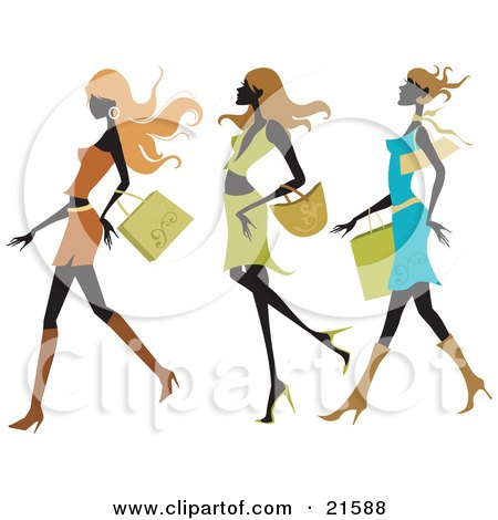 Clipart Illustration of Three Silhouetted Long Haired Women Wearing Colorful And Fashionable Clothes And Taking Long Strides While Shopping In A Mall by OnFocusMedia
