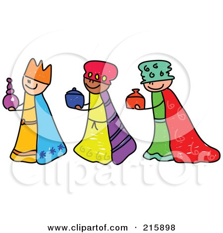 Royalty-Free (RF) Clipart Illustration of a Childs Sketch Of Three Magi Kids by Prawny