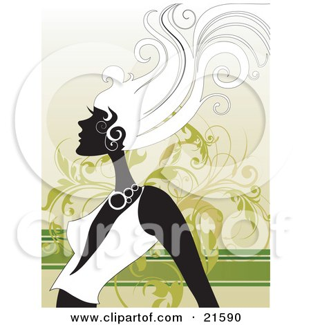 Clipart Illustration of a Woman With Long Hair In Profile, Wearing A Low Cut Shirt, Her Hair Blowing In A Breeze, Against A Green Vine Scroll Background by OnFocusMedia