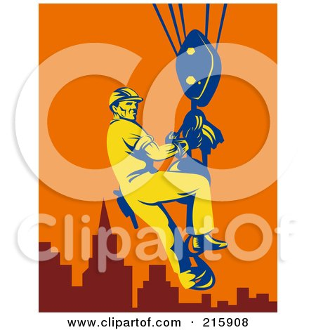 Royalty-Free (RF) Clipart Illustration of a Construction Worker Riding On A Hoist by patrimonio