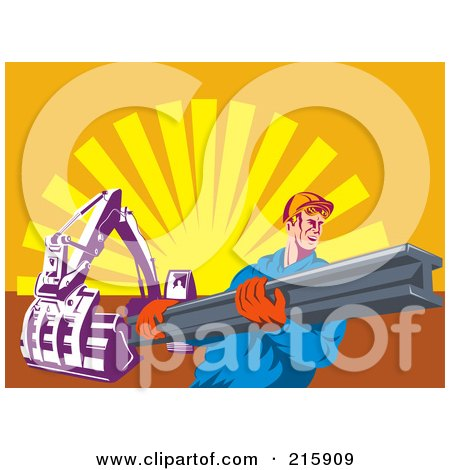 Royalty-Free (RF) Clipart Illustration of a Construction Worker Carrying A Beam Near A Machine by patrimonio