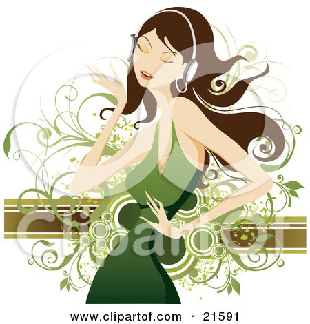 Clipart Illustration of a Pretty Brunette Caucasian Woman In A Green Dress, Closing Her Eyes And Dancing While Listening To Tunes Through Headphones by OnFocusMedia