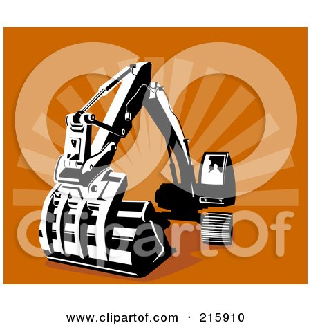 Royalty-Free (RF) Clipart Illustration of a Retro Digger Machine by patrimonio