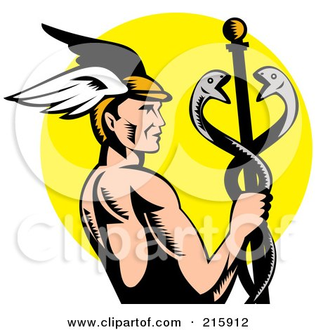 Royalty-Free (RF) Clipart Illustration of Hermes Holding A Caduceus Over A Yellow Oval by patrimonio