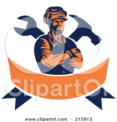 Royalty-Free Vector (RF) Clipart Illustration of a Retro Carpenter Over A Crossed Hammer, Wrench And Orange Banner by patrimonio
