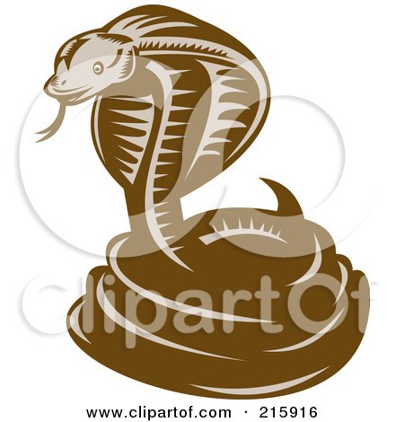 Royalty-Free (RF) Clipart Illustration of a Retro Woodcut Styled Cobra Snake by patrimonio