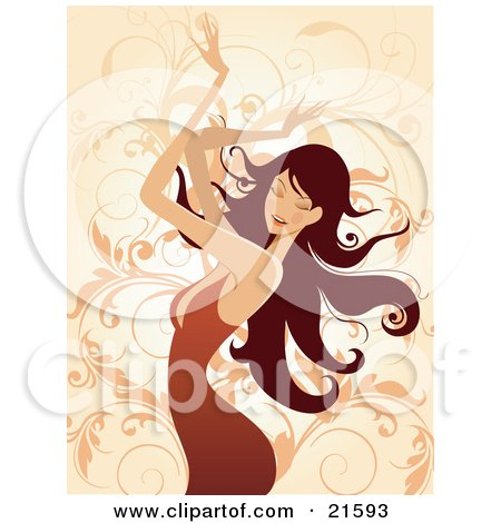 Clipart Illustration of a Brunette Caucasian Woman Wearing An Orange Dress, Closing Her Eyes And Waving Her Arms In The Air While Dancing by OnFocusMedia