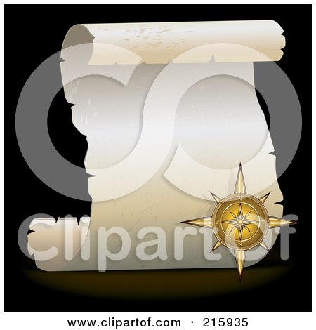 Royalty-Free (RF) Clipart Illustration of a Golden Compass Over A Blank Parchment Scroll by MilsiArt