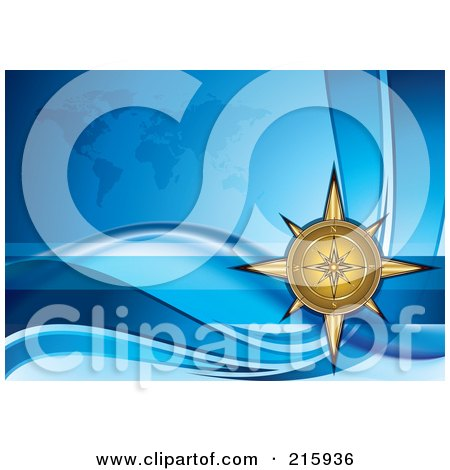 Royalty-Free (RF) Clipart Illustration of a Golden Compass Over A Blue Wave And Atlas Background by MilsiArt