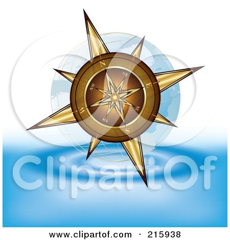 Royalty-Free (RF) Clipart Illustration of a Gold Compass Above Water by MilsiArt