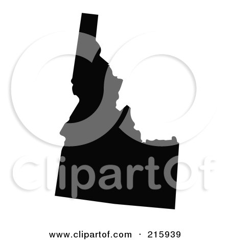 Royalty-Free (RF) Clipart Illustration of a Black Silhouette Of Idaho, USA by JR