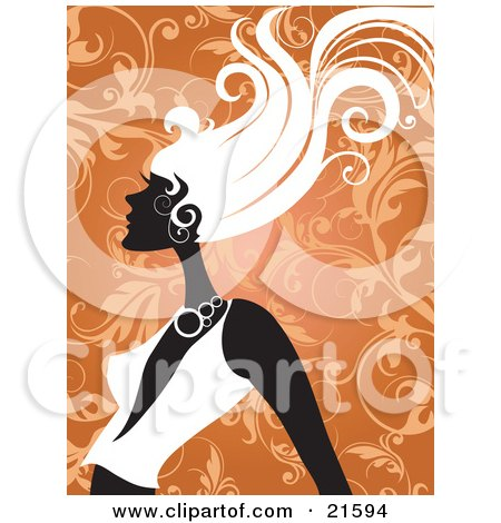 Clipart Illustration of a Woman In Profile, Wearing A Low Cut Shirt, Her Hair Blowing In A Breeze, Against An Orange Scroll Background by OnFocusMedia