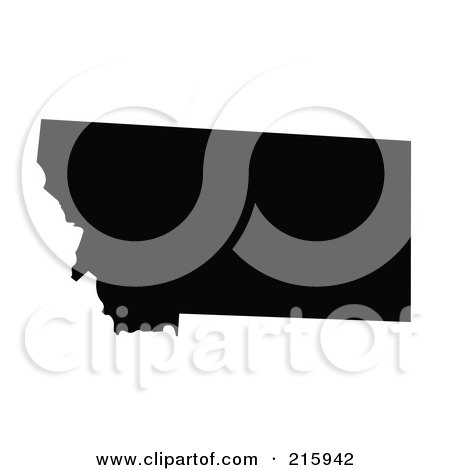 Royalty-Free (RF) Clipart Illustration of a Black Silhouette Of Montana, USA by JR