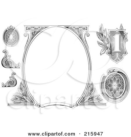 Royalty-Free (RF) Clipart Illustration of a Digital Collage Of Money Design Elements With A Blank Oval Frame by BestVector