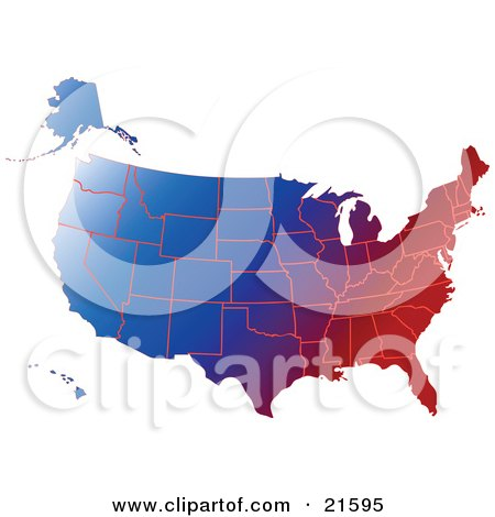 Clipart Illustration Graphic of a Gradient Red White And Blue Mape Of All Of The United States by Tonis Pan