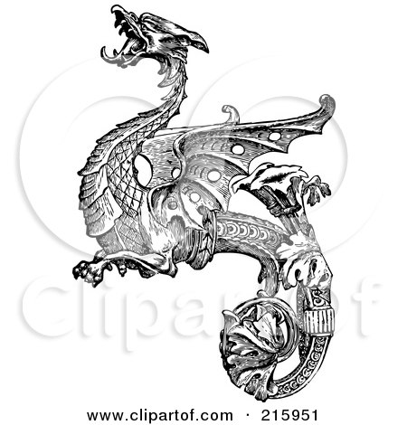 Royalty-Free (RF) Clipart Illustration of a Vintage Black And White Dragon Design With A Curled Leafy Tail by BestVector