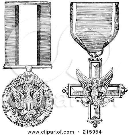 Royalty-Free (RF) Clipart Illustration of a Digital Collage Of Black And White Military Medals by BestVector