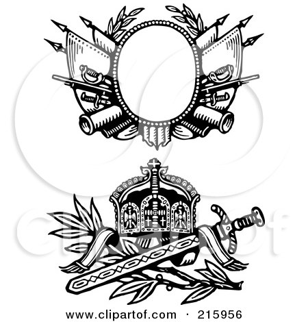 Royalty-Free (RF) Clipart Illustration of a Digital Collage Of Two Medieval Sword And Shield Designs by BestVector
