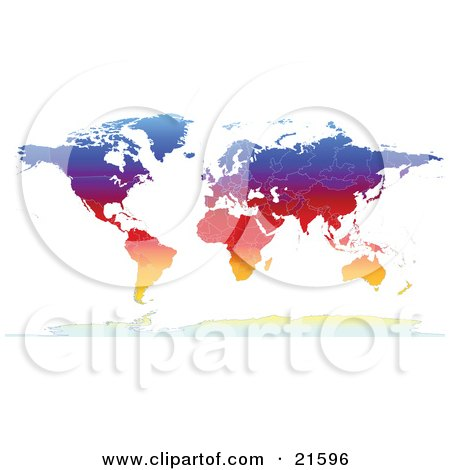 Clipart Illustration Graphic of a Map Of The Continents Of The Earth With Borders Of The Countries In Colorful Gradient Colors by Tonis Pan