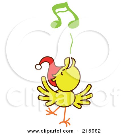 Royalty-Free (RF) Clipart Illustration of a Yellow Christmas Chicken Wearing A Santa Hat And Singing Carols - 3 by Zooco