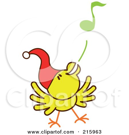 Royalty-Free (RF) Clipart Illustration of a Yellow Christmas Chicken Wearing A Santa Hat And Singing Carols - 1 by Zooco